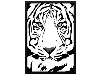 Affisch Poster Svartvit Tiger Illustration 33x48