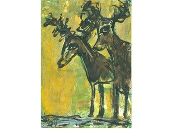 Akvarell, akryl Queen, Två ælggar i skogen, orginalmålning - Strömstad - Akvarell, akryl Queen, Två ælggar i skogen, orginalmålning - Strömstad