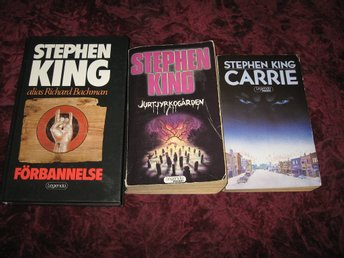 3 ST STEPHEN KING BÖCKER (CARRIE,JURTJYRKOGÅRDEN,FÖRBANNELSE)