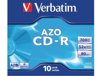 CD-R Verbatim AZO 52x 10p 700MB, JC, Crystal