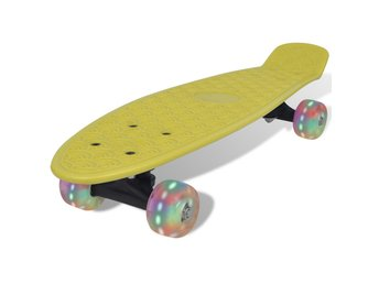 Gul retro-skateboard med LED-hjul