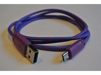 1m LILA textilklädd micro-USB till USB-kabel för laddning och dataöverföring - Mölndal - 1m LILA textilklädd micro-USB till USB-kabel för laddning och dataöverföring - Mölndal