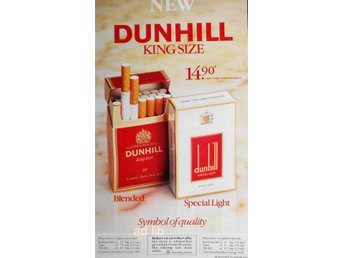 DUNHILL - KING SIZE, TIDNINGSANNONS 1986