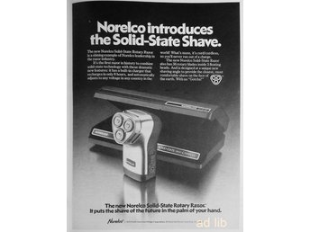 NORELCO SOLID-STATE ROTARY RAZOR, TIDNINGSANNONS 1978