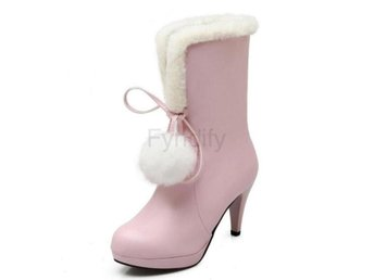 Dam Boots Shoes Women Thick Fur Winter Warm Botas Pink 40