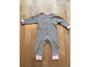Joha sparkdräkt pyjamas overall merinoull ull bomull grå och rosa stl 70 5ed1729e3ecca