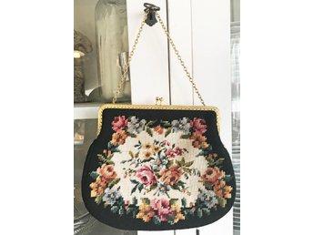 VINTAGE petit point väska broderad handväska retro aftonväska retro 60 tal