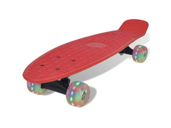 Röd retro-skateboard med LED-hjul