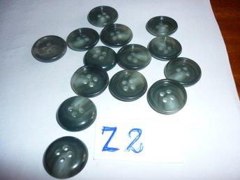 14 styck gråa knappar med 4 hål - Flen - 14 styck gråa knappar med 4 hål - Flen