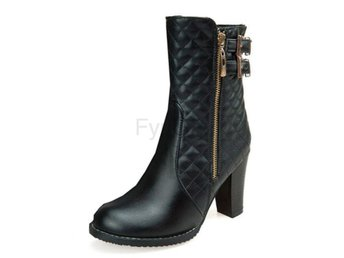 Dam Boots Zip Metal Buckle Warm Plush Warm Botas Black 40