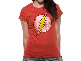 The Flash - Distressed Logo  T-Shirt, Kvinnor Medium
