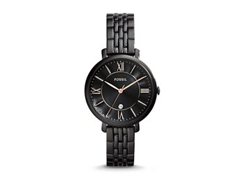 JACQUELINE BLACK STAINLESS STEEL WATCH FOSSIL