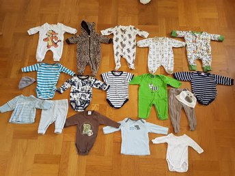 Klädpaket baby pojke 50 56 H&M Lindex Carters Mini Safari body bodysuit pyjamas