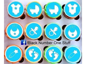 Baby Shower Party tårtoblater - Cupcake - Muffin toppers
