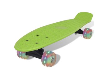 Grön retro-skateboard med LED-hjul