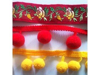 Bollfrans, dekorband ,allmogeband rö och gul - Bromma - Bollfrans, dekorband ,allmogeband rö och gul - Bromma
