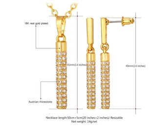 Jewelry Sets For Women Necklace Fashion Jewelry Yellow Gold Plated Long Earrings