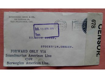 USA t Sverige censur brev 1916 ovanl mark Forward Only skeppslinjer