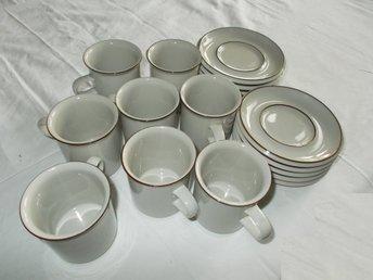 Arabia 8 st Kaffe koppar med fat retro kollektion porslin Finland Coffee cups - överkalix - Arabia 8 st Kaffe koppar med fat retro kollektion porslin Finland Coffee cups - överkalix