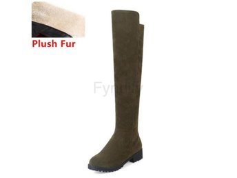 Dam Boots With Plush Fur Botas Women Footwears green fur 37