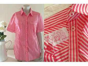 Betty Barclay fri frakt randig blus rosa vit bomull retro 42 L