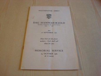 Dag Hammaskjöld FN Memorial Service 1961 Westminster Abbey London
