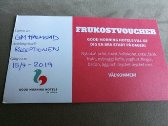 Presentkort frukostvoucher på GOOD MORNING HOTELS värde 300 kr
