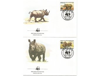 Centralafrika, Noshörningar, World wildlife fund 1983, FDC