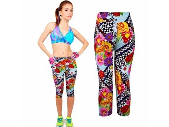 Yoga Fitness Byxor Stretch Flower Strlk XL