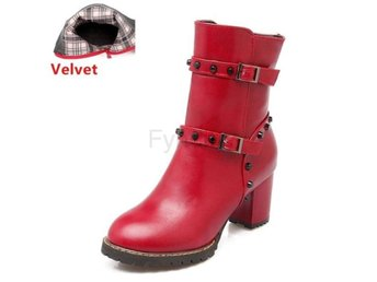 Dam Boots Shoes Warm Botas Woman Footwears red velvet 40