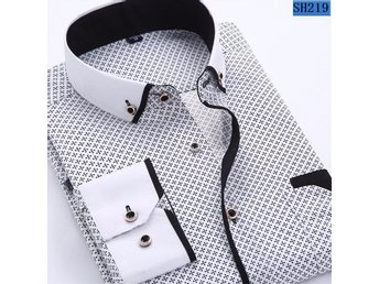 Javascript är inaktiverat. - Shanghai - 2018 Men Fashion Casual Long Sleeved Printed shirt Slim Fit Male Social Business Dress Shirt Soft Comfortable Color: white with black Size: XXL this is asian size, please order accord the last picture. Thanks - Shanghai