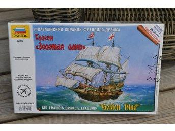 """Sir Francis Drake's Flaggskepp """"Golden Hind"""" 1:350 Zvezda, Plastbyggsats Ny - Vännäs - Sir Francis Drake's Flaggskepp """"Golden Hind"""" 1:350 Zvezda, Plastbyggsats Ny - Vännäs"""