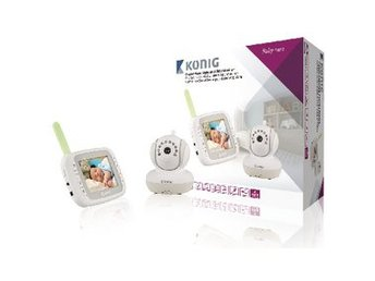 König Baby monitor Audio / Video 2.4 GHz Vit/Grå FRAKTFRITT