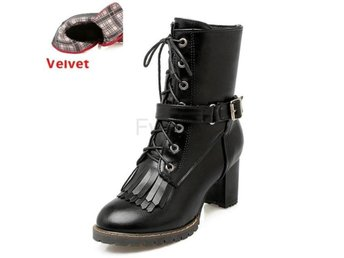 Dam Boots Shoes Snow Botas Woman Footwear black velvet 40