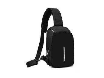 Anti-Theft Mini Backpack Oxford USB Port Travel Bag Svart