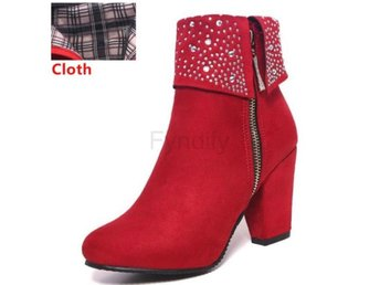 Dam Boots Rivets Ankle Feminina Botas Footwear red cloth 40