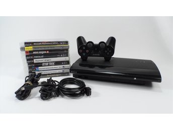 PS3 Playstation Slim 500 GB med 9 spel