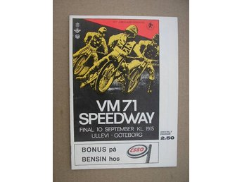 Program Speedway VM final 10/9 1971 Ullevi Göteborg