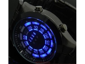 TVG BLUE LED BLACK STAINLESS STEEL QUARTZ KLOCKA *RARE VERY HARD TO FIND*