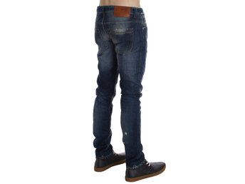 ACHT - Blue Wash Torn Cotton Slim Skinny Fit Jeans
