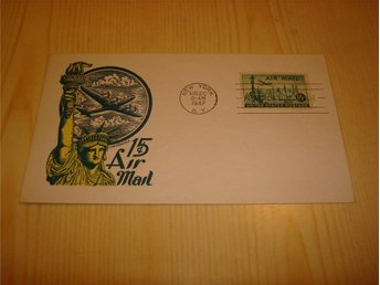Statue of Liberty Air Mail 1947 New York USA förstadagsbrev