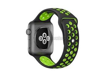 Apple Watch 38mm S/M silikon Sport klockarmband / Svart grön - Hong Kong - Apple Watch 38mm S/M silikon Sport klockarmband / Svart grön - Hong Kong