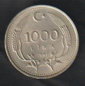 Turkey 1000 Lira 1991 se bild