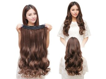 Fashion 3/4 Clip In Hair Extensions with 5 clips long, Curly Light Brown - Kowloon Bay - Fashion 3/4 Clip In Hair Extensions with 5 clips long, Curly Light Brown - Kowloon Bay