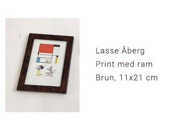 Lasse Åberg, Print med ram, Brun, 11x21 cm, nyskick! - Varmdö - Lasse Åberg, Print med ram, Brun, 11x21 cm, nyskick! - Varmdö