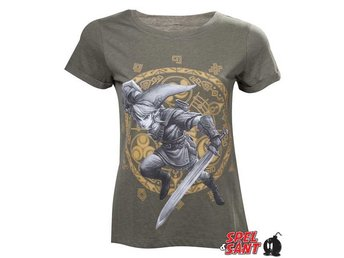 Nintendo Gate of Time Link Tjej T-Shirt Grön (Large)