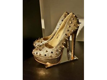 STUDDED HEELS SPIKE 37 GOLD GLITTER