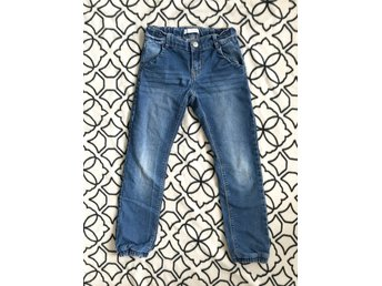 NAME IT, loose jeans, Strl: 128, Blå med paljettfickor