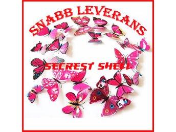 12 st 3D Fjärilar - Väggdekor - Rosa ( Leveranstid 2 dagar ) - Shenzhen - 12 st 3D Fjärilar - Väggdekor - Rosa ( Leveranstid 2 dagar ) - Shenzhen