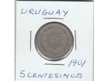 URUGUAY 5 CENTESIMOS FRÅN 1901 - Malmö - URUGUAY 5 CENTESIMOS FRÅN 1901 - Malmö